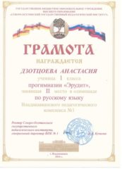Дзотцоева Анастасия